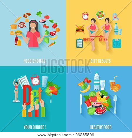 Diet 4 flat icons square banner