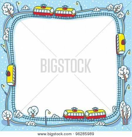 Frame with funny trams and rails