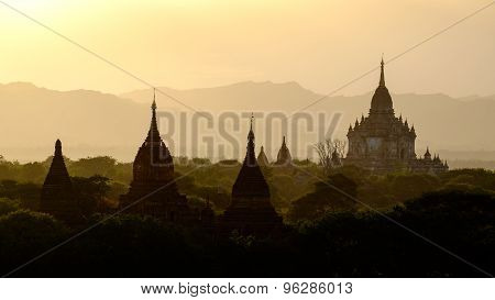 Sunset Scenic View With Silhouettes Of Temples In Bagan, Myanmar