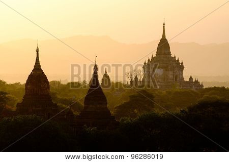 Beautiful Sunset Scenic View With Silhouettes Of Temples In Bagan, Myanmar