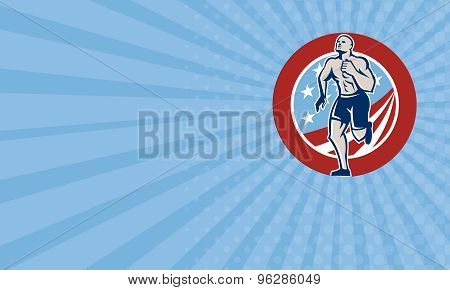 Business Card American Crossfit Runner Running Retro