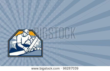 Business Card Drainlayer Worker Laying Pipes Retro