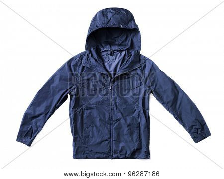 Men's dark blue hooded windproof jacket isolated on white with natural shadows.