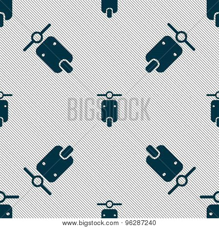Motorcycle Icon Sign. Seamless Pattern With Geometric Texture. Vector