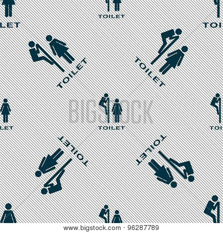 Toilet Icon Sign. Seamless Pattern With Geometric Texture. Vector