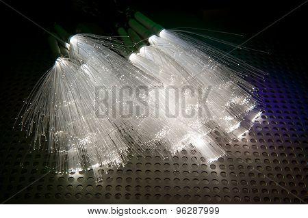 Fiber optics close-up, modern computer communication technology, blur