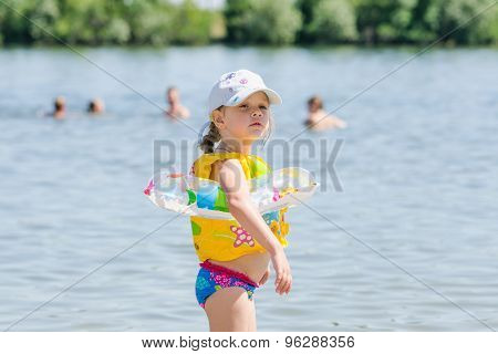 Girl On The Beach Is Very Afraid Of Water