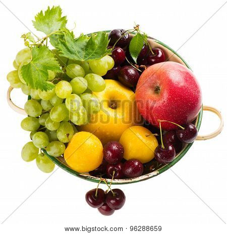 Organic Berries And Fruit In Colander