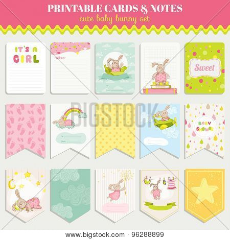 Baby Bunny Card Set - for birthday, baby shower, party, design - in vector