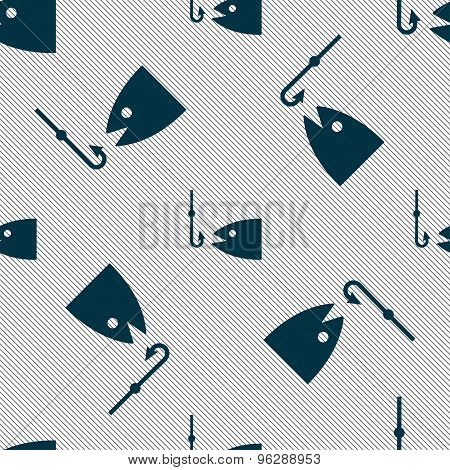 Fishing Icon Sign. Seamless Pattern With Geometric Texture. Vector