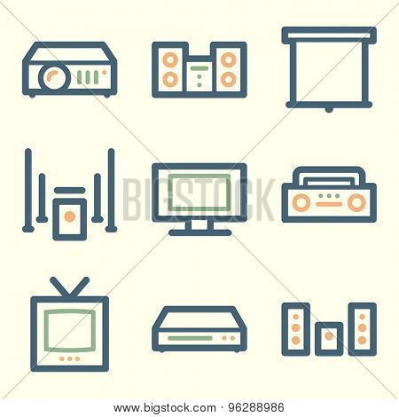 Audio video web icons, square buttons