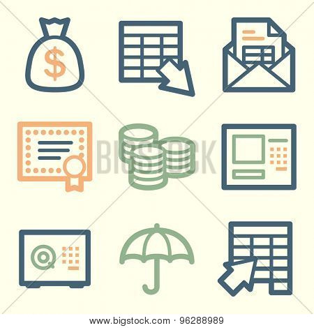 Banking web icons, square buttons