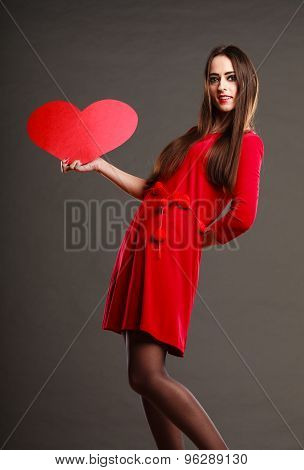 Girl Holding Red Heart Love Sign