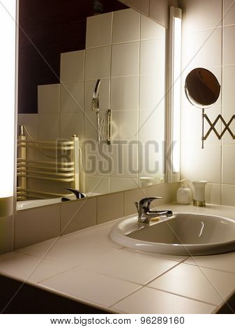 Bathroom Interior With Sink And Mirror