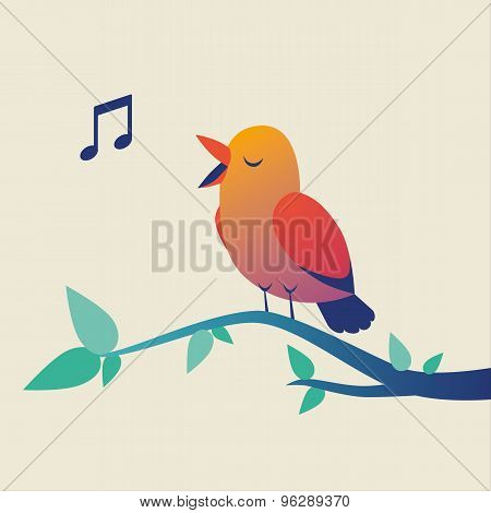Cute singing bird on branch
