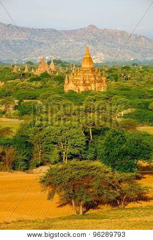 Scenic Landscape View Of Antient Temples At Sunrise, Bagan, Myanmar