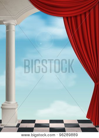 Arch With Columns And Curtain
