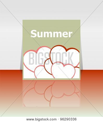 Grungy Summer Poster With Love Heart Set. I Love Summer Concept