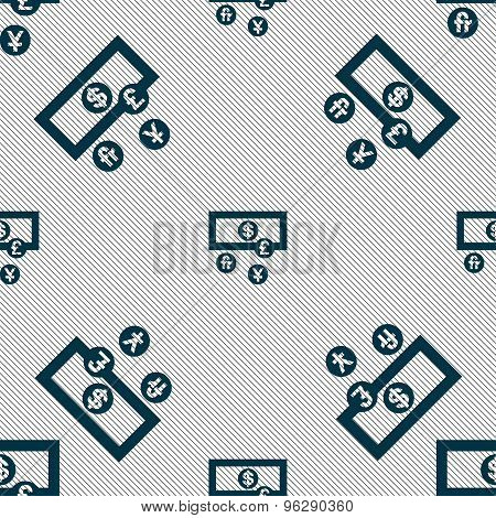 Currencies Of The World Icon Sign. Seamless Pattern With Geometric Texture. Vector