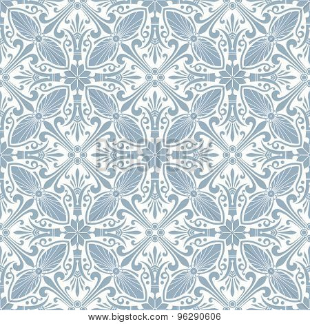 Seamless light blue floral background. Vector illustration.