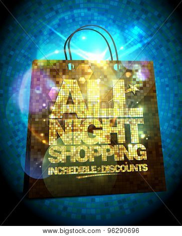 All night shopping sale design with gold crystal shopping bag, glare vector clearance poster