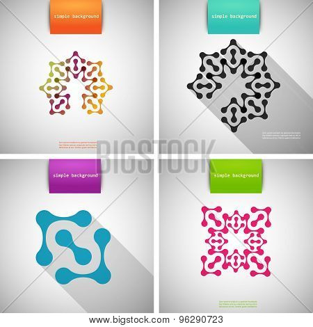 Vector set of colored flat tech patterns