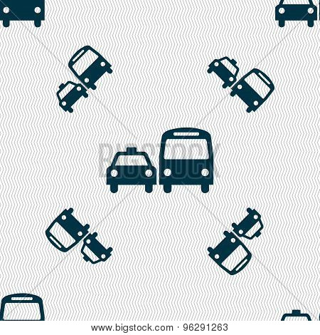 Taxi Icon Sign. Seamless Pattern With Geometric Texture. Vector