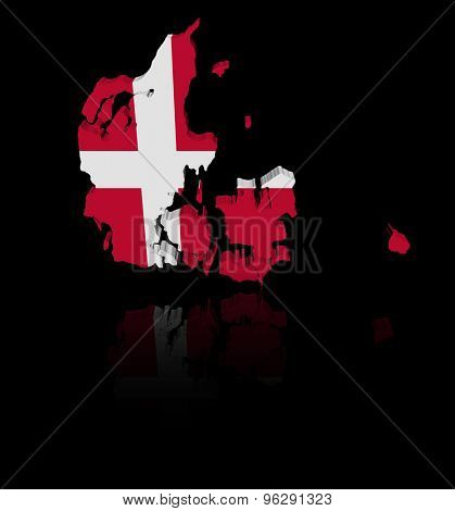 Denmark map flag with reflection illustration