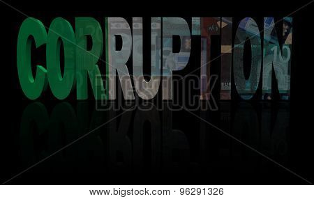Corruption text with Italian flag and currency illustration