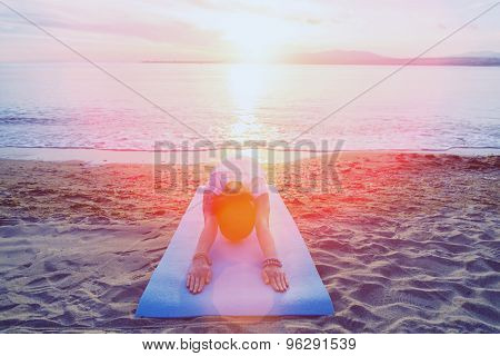 Woman Stretching Her Back, Workout On Beach