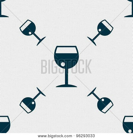 Glass Of Wine Icon Sign. Seamless Pattern With Geometric Texture. Vector