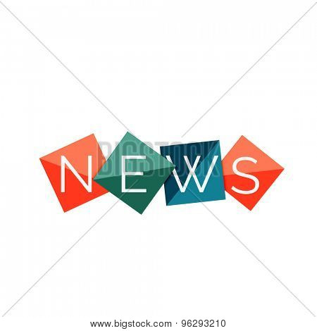 Word news concept on color geometric shapes. Banner, web button. Web illustration or message for online web site, presentation or application