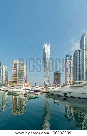 Dubai - AUGUST 9, 2014: Dubai Marina district on August 9 in UAE. Dubai is fastly developing city in Middle East
