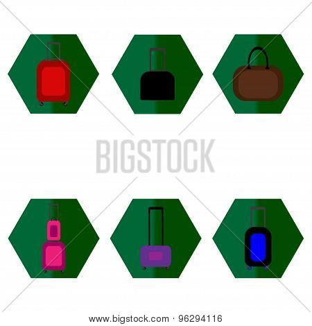 Set of baggage suitcase icons various colors.