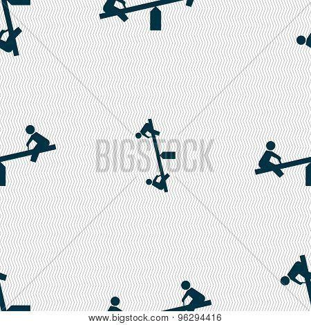 Swing Icon Sign. Seamless Pattern With Geometric Texture. Vector