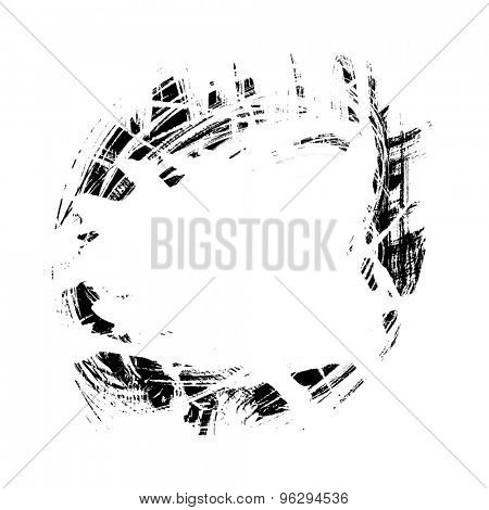 black grunge spot circular, isolated on white