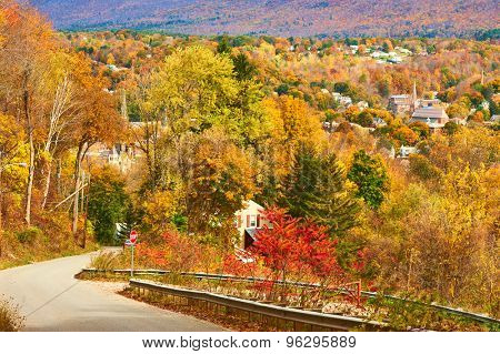 Autumn landscape with small town somewhere in New England