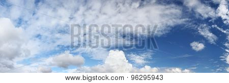 panorama of blue sky with clouds, natural background