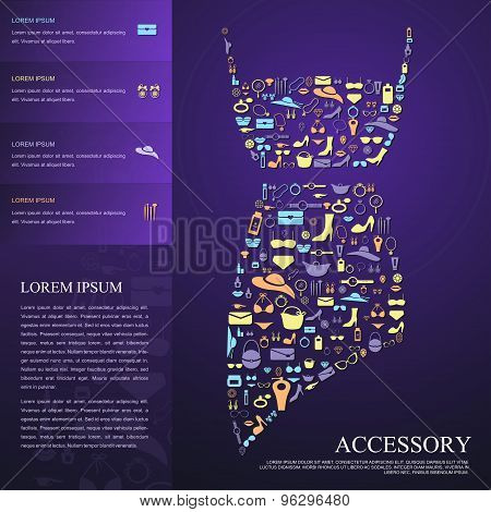 Colorful Woman Fashion, Clothes, And Accessories Icon Infographic Brochure Banner Badge Background T