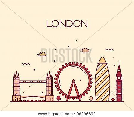 London England Trendy illustration line art style