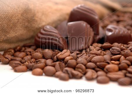 Coffee Beans, Chocolate And Bag