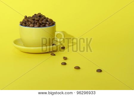 Cooffee Beans And Cup