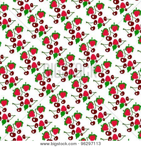Color pattern of strawberries and cherries on a white background