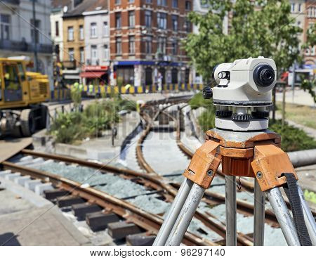 Land Surveying On Construction Site