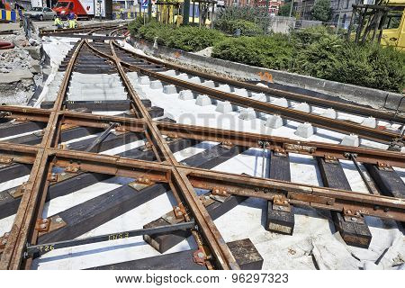 Some Workers Repair And Replace Rail Trams