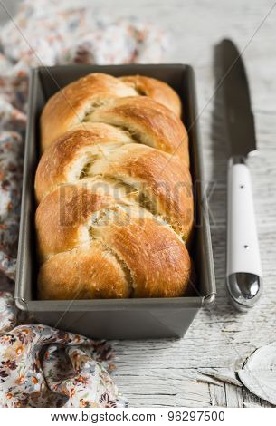 Sweet Butter Bread, Brioche, In The Baking Dish On A Light Wooden Background