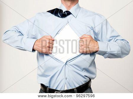 Superhero Executive Tearing His Shirt