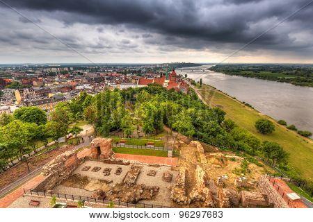 Panorama of Grudziadz at Vistula river, Poland
