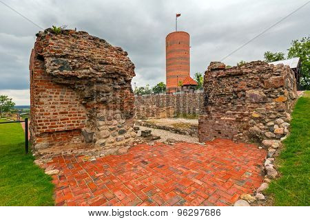 Observatory tower at the castle ruins in Grudziadz, Poland