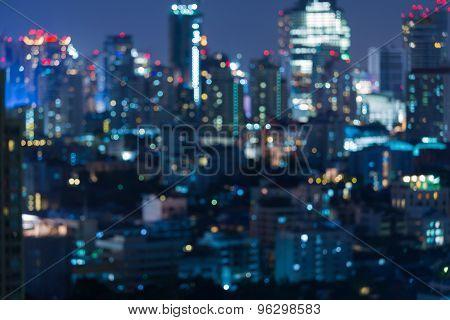 Twilight of blurred Photo bokeh of city light